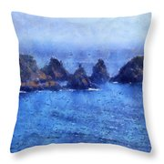 Rocks On Isle Of Guernsey Throw Pillow