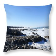 Rocky Beach Throw Pillow by Barbara Snyder