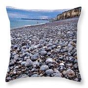 Rocky Beach Normandy France Throw Pillow