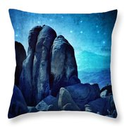 Rocky Cliff In Starlight Throw Pillow