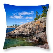 Rocky Coast And Clear Water Of Lake Superior Throw Pillow
