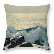 Rocky Coast And Sea Throw Pillow