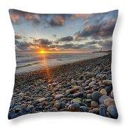 Rocky Coast Sunset Throw Pillow