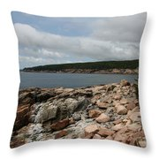 Rocky Coastline Acardia Park Throw Pillow