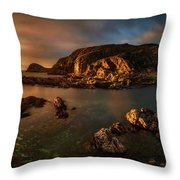 Rocky Coastline At Sunset, Point Throw Pillow