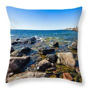 Rocky Cove At Lake Superior North Shore Throw Pillow