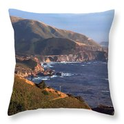 Rocky Creek Bridge In Big Sur Throw Pillow by Charlene Mitchell