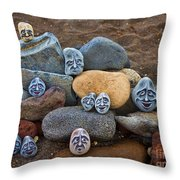 Rocky Faces In The Sand Throw Pillow