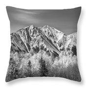 Rocky Mountain Autumn High In Black And White Throw Pillow