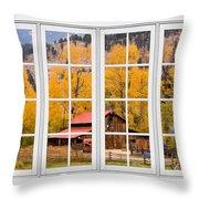 Rocky Mountain Autumn Ranch White Window View Throw Pillow