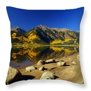 Rocky Mountain Beach Throw Pillow