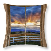 Rocky Mountain Country Beams Of Sunlight Rustic Window Frame Throw Pillow