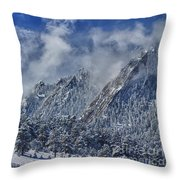 Rocky Mountain Dusting Of Snow Boulder Colorado Throw Pillow