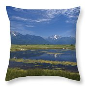 Rocky Mountain Lake Throw Pillow
