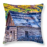 Rocky Mountain Rural Rustic Cabin Autumn View Throw Pillow