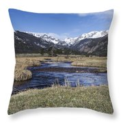 Rocky Mountain Stream Wide Angle Throw Pillow