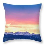 Rocky Mountain Sunset Clouds Burning Layers  Panorama Throw Pillow