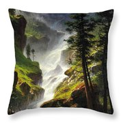 Rocky Mountain Waterfall Throw Pillow