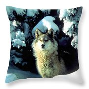 Rocky Mountain Wolf Throw Pillow