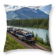 Rocky Mountaineer At Muleshoe On The Bow River Throw Pillow by Steve Boyko