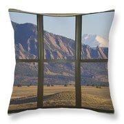Rocky Mountains Flatirons With Snow Longs Peak Bay Window View Throw Pillow