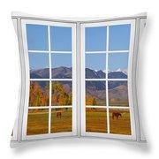 Rocky Mountains Horses White Window Frame View Throw Pillow