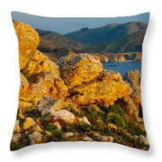 Rocky Point And Bixby Bridge Big Sur California Throw Pillow