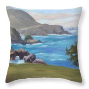 Rocky Point Big Sur Throw Pillow by Karin  Leonard