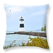 Rocky River Pier Throw Pillow