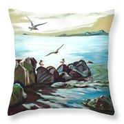 Rocky Seashore And Seagulls Throw Pillow