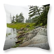 Rocky Shore By The Narrows To Mount Desert Island Throw Pillow
