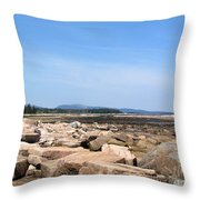 Rocky Shore To Rocky Mountain Throw Pillow