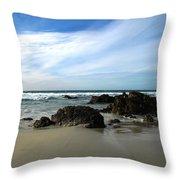 Rocky Shoreline At Spanish Bay Throw Pillow