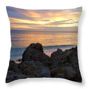 Rocky Shoreline At Sunset Throw Pillow