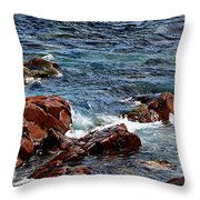 Rocky Shoreline - Coast -  Painterly Effects -  Panorama Throw Pillow