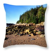 Rocky Shoreline Deer Isle Maine Throw Pillow