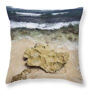Rocky Shoreline In Tulum Throw Pillow