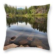 Rocky Shores At Swim Lake Throw Pillow