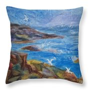Rocky Shores Of Maine Throw Pillow