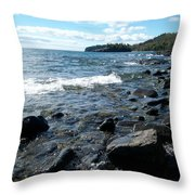 Rocky Shores Of Superior Throw Pillow