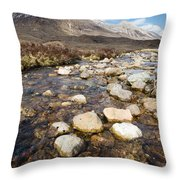 Rocky Stream From Beinn Eighe Throw Pillow