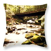 Rocky Stream With Bridge Throw Pillow