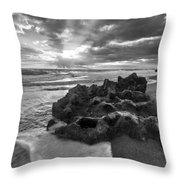 Rocky Surf In Black And White Throw Pillow