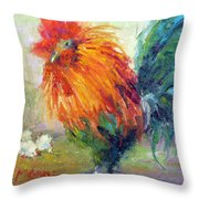 Rocky The Rooster Throw Pillow