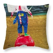 Rodeo Barrel Clown Throw Pillow