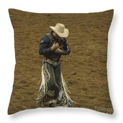 Rodeo Cowboy Dusting Off Throw Pillow