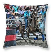 Rodeo Cowgirl Throw Pillow by Gary Keesler