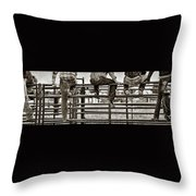 Rodeo Fence Sitters- Sepia Throw Pillow