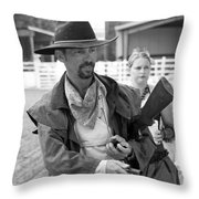 Rodeo Gunslinger With Saloon Girls Bw Throw Pillow