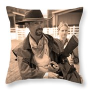 Rodeo Gunslinger With Saloon Girls Sepia Throw Pillow